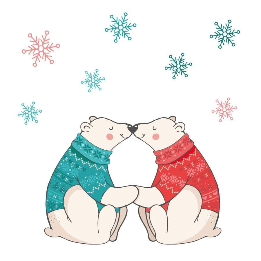 Polar bears kiss window sticker on a white background