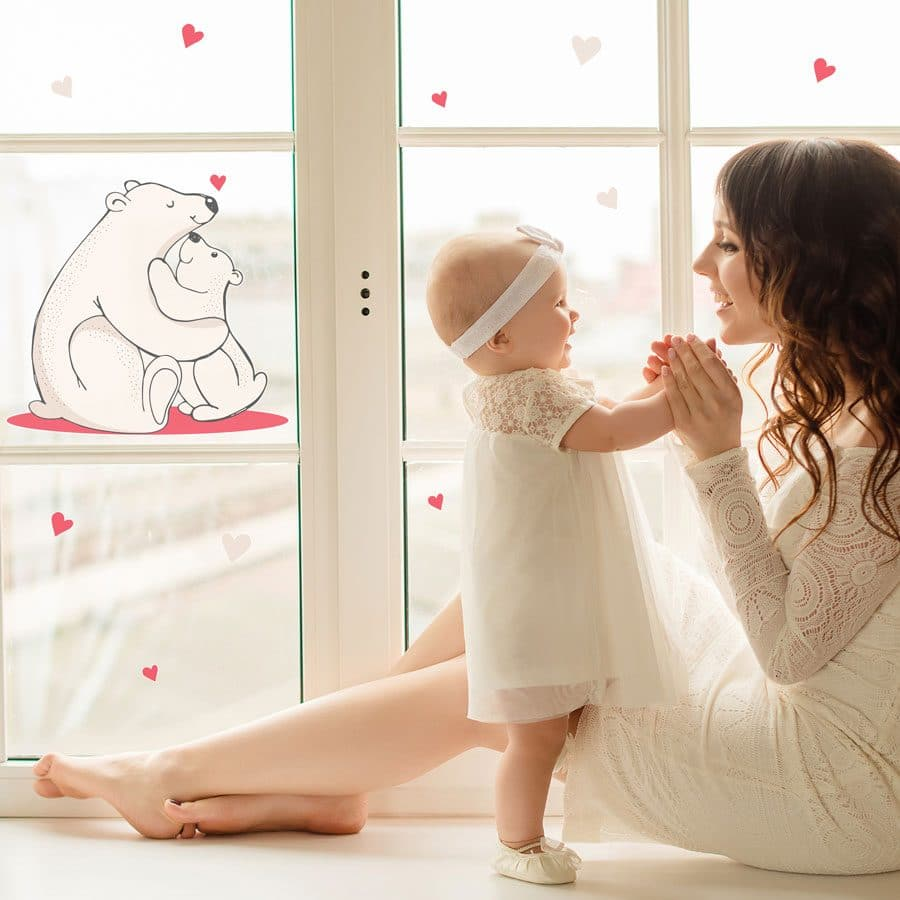 Polar bears hug window sticker perfect for Christmas decorating in your little ones home
