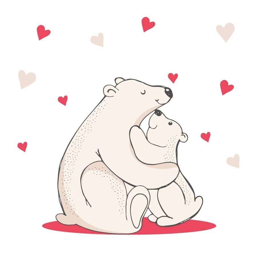 Polar bears hug window sticker on a white background