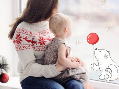 Polar bear with balloon window sticker perfect for decorating your windows with a cute festive design this Christmas