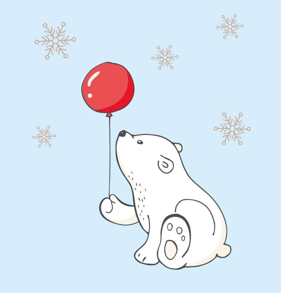 Polar bear with balloon window sticker on a blue background