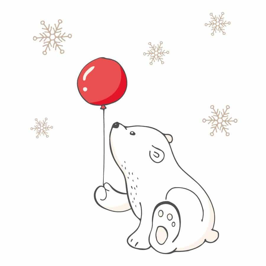 Polar bear with balloon window sticker on a white background