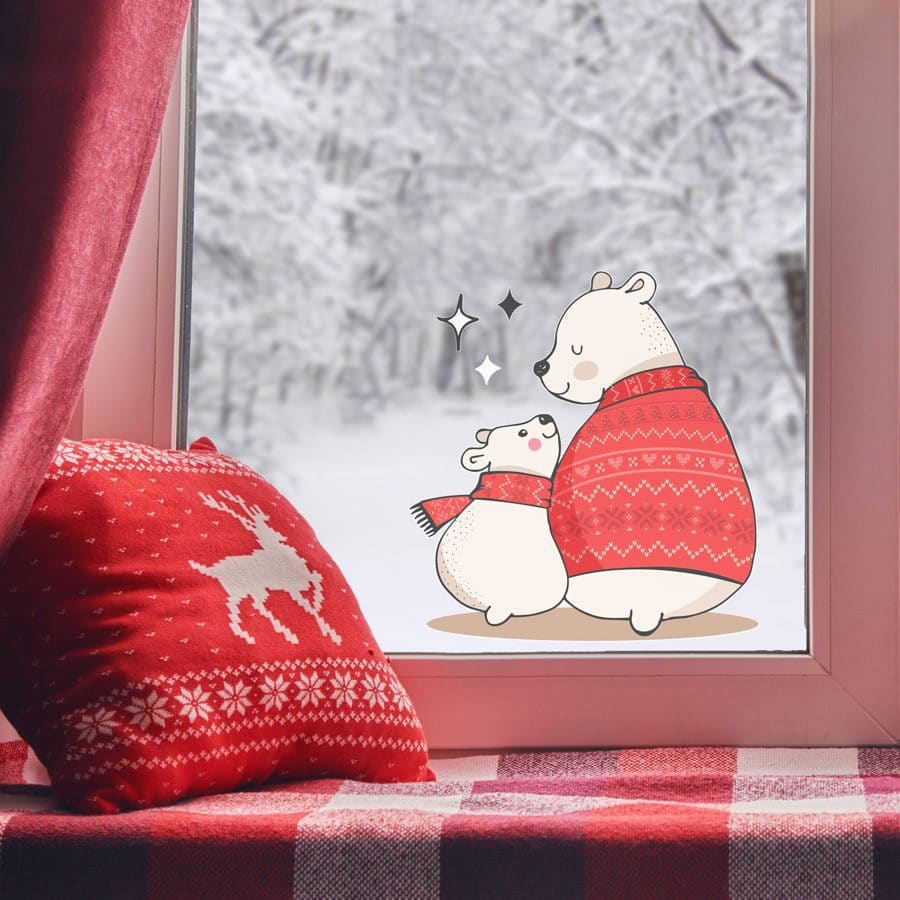 Polar bears with sparkles window stickers are a perfect accessory for decorating your home this Christmas