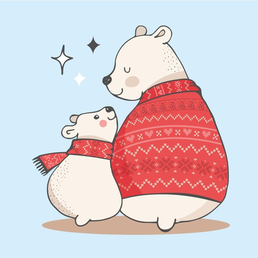 Polar bears with sparkles window stickers on a light blue background