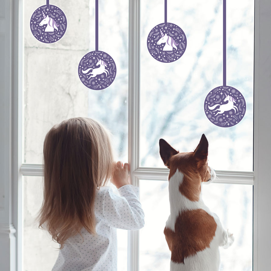 Unicorn bauble window stickers (Option 2) perfect for decorating your little girls windows this Christmas