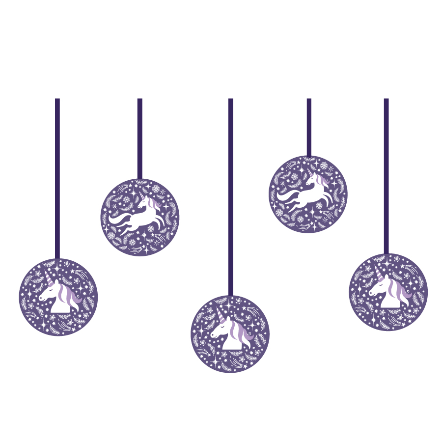 Unicorn bauble window stickers (Option 2) on a white background