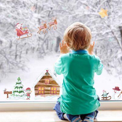 North Pole Scene Window Sticker | Christmas Window Stickers | Stickerscape
