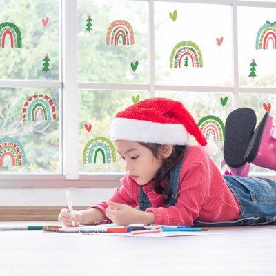 Festive Rainbow Window Stickers | Christmas Window Stickers | Stickerscape