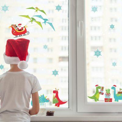 Christmas Dinosaur Window Stickers | Christmas Window Stickers | Stickerscape