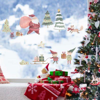 Watercolour Santa Scene Window Sticker | Christmas Window Stickers | Stickerscape