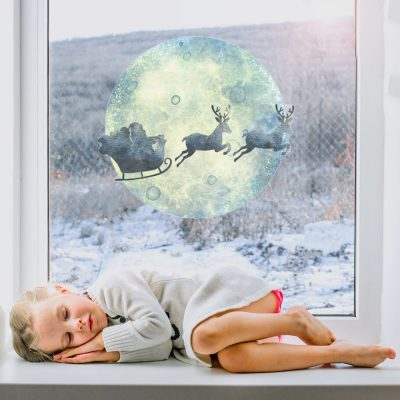 Sleigh and Moon Window Sticker | Christmas Window Stickers | Stickerscape