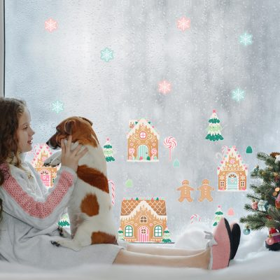 Christmas Gingerbread Village Window Sticker Pack | Christmas Window Stickers | Stickerscape