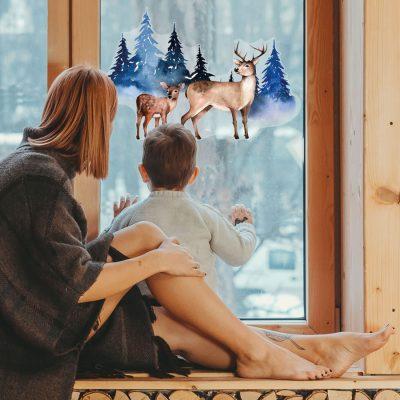 Forest Reindeer Window Sticker | Christmas Window Stickers | Stickerscape