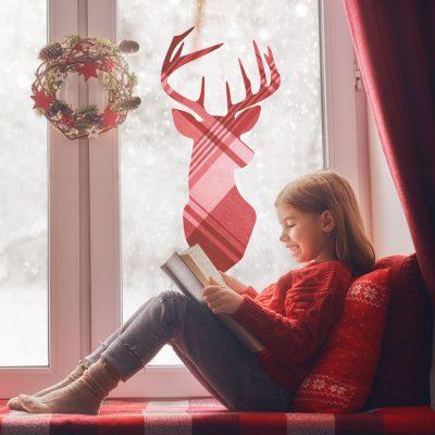 Highland Reindeer Window Sticker | Christmas Window Stickers | Stickerscape