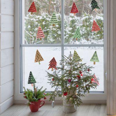 Festive Trees Window Stickers | Christmas Window Stickers | Stickerscape