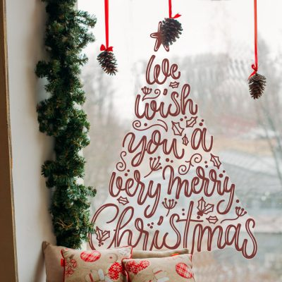 Merry Christmas Tree Window Sticker | Christmas Window Stickers | Stickerscape