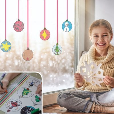 Colour-in Bauble Window Stickers | Christmas Window Stickers | Stickerscape