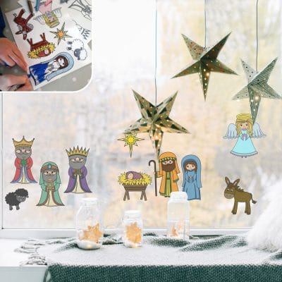 Colour-in Nativity Window Stickers | Christmas Window Stickers | Stickerscape
