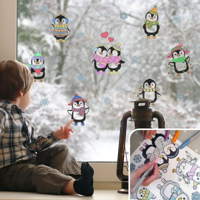 Colour-in Penguin Window Stickers | Christmas Window Stickers | Stickerscape