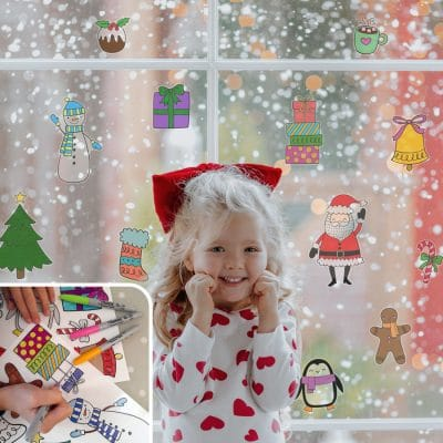 Christmas Colour-in Window Sticker Pack | Christmas Window Stickers | Stickerscape