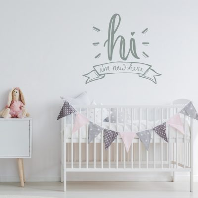 Hi I'm New Here wall sticker quote | Quote wall stickers | Stickerscape | UK