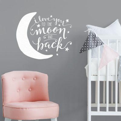 To the moon and back wall sticker | Quote wall stickers | Stickerscape | UK