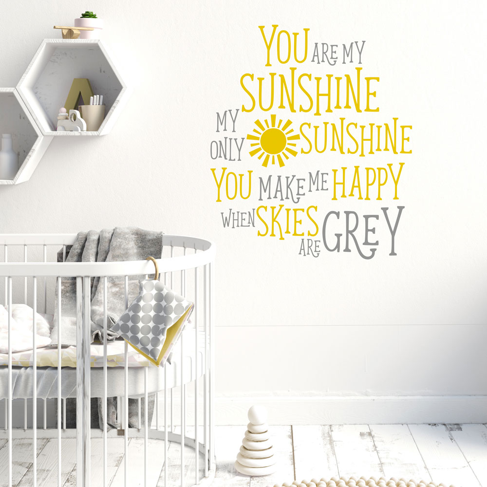 You are my sunshine wall sticker quote quote wall stickers stickerscape uk