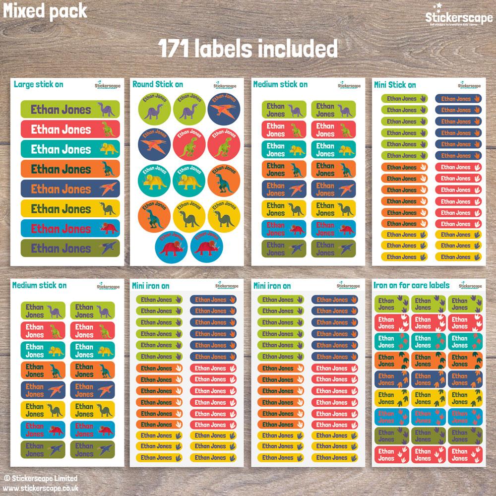 Dinosaur name labels - mixed pack layout