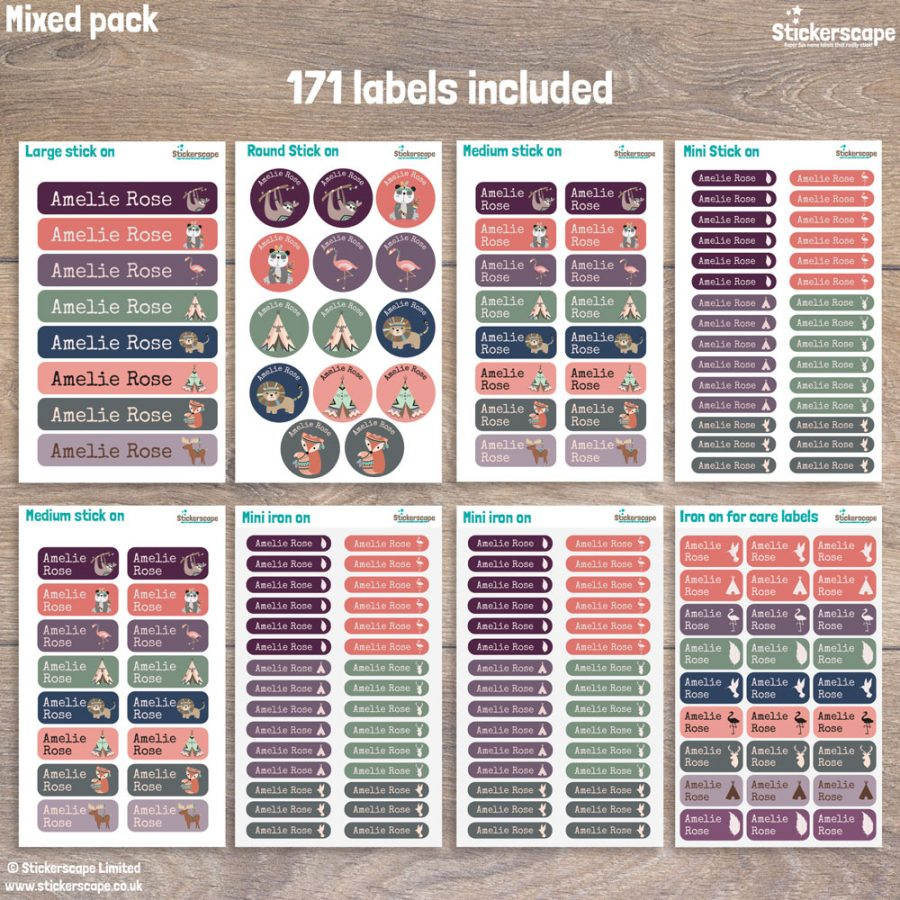 Animal tribe name labels - mixed pack layout