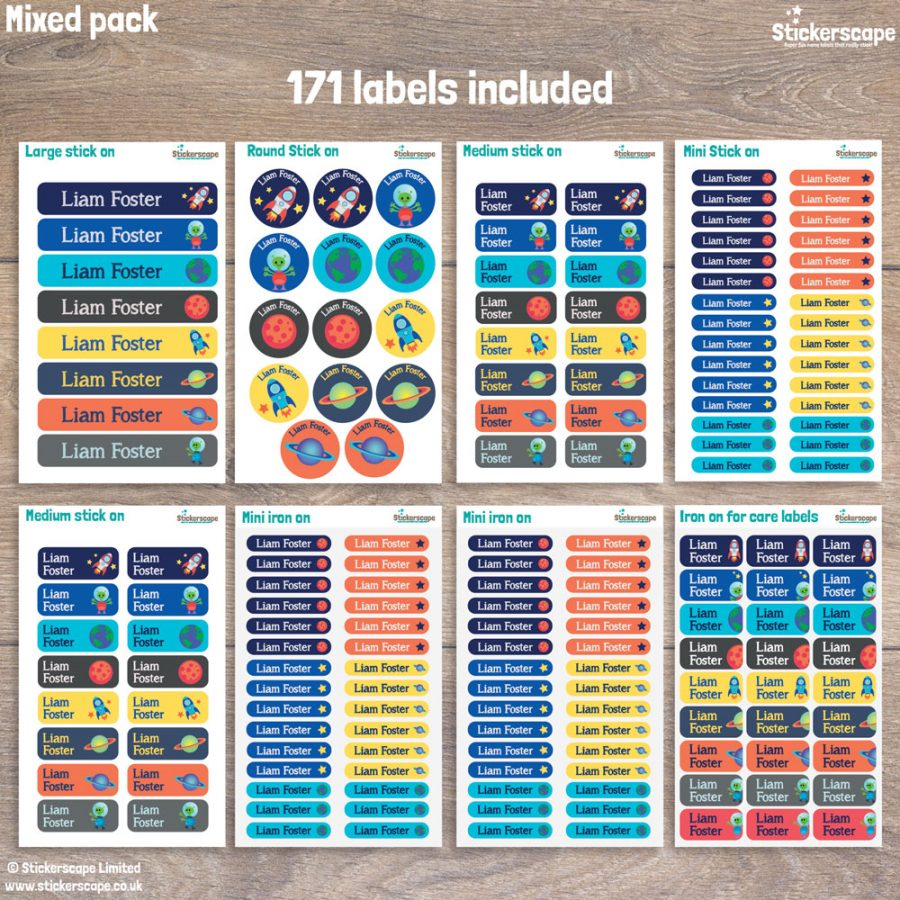 Space name labels - mixed pack layout
