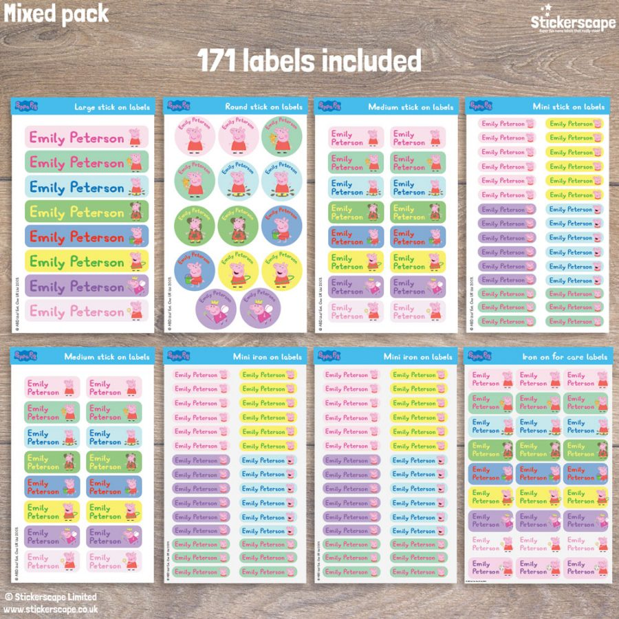 Peppa Pig name labels mixed pack - pack layout