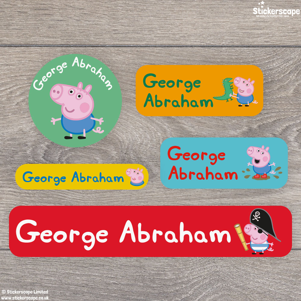 George Pig name labels mixed pack - Overview