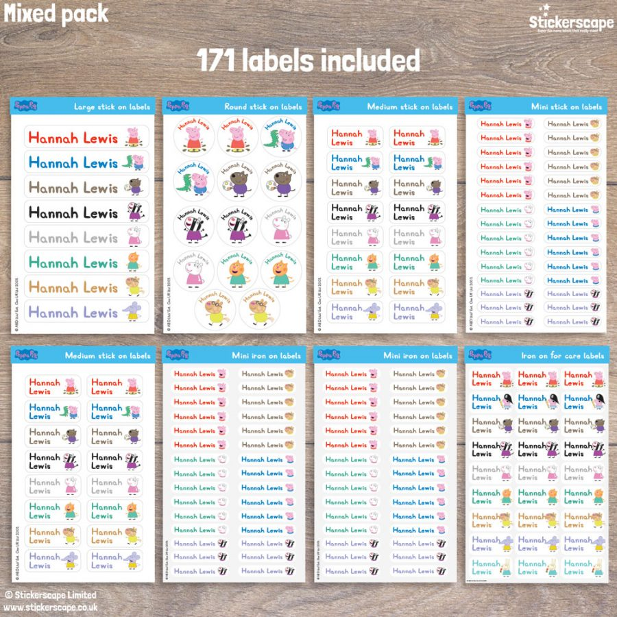 Peppa and Friends name labels mixed pack - Pack layout