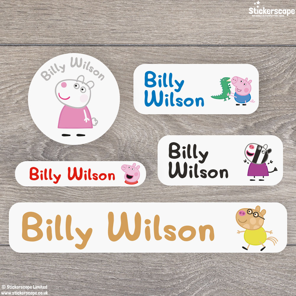 Peppa and Friends name labels mixed pack - Overview