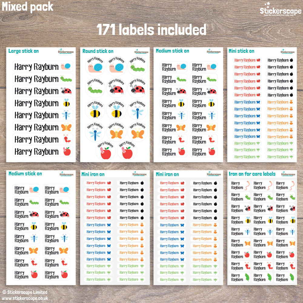 Insects name labels - mixed pack layout (option 2)