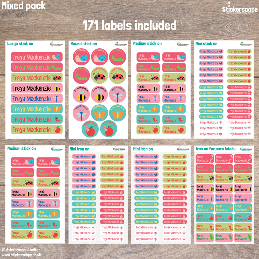 Insects name labels - mixed pack layout (option 3)