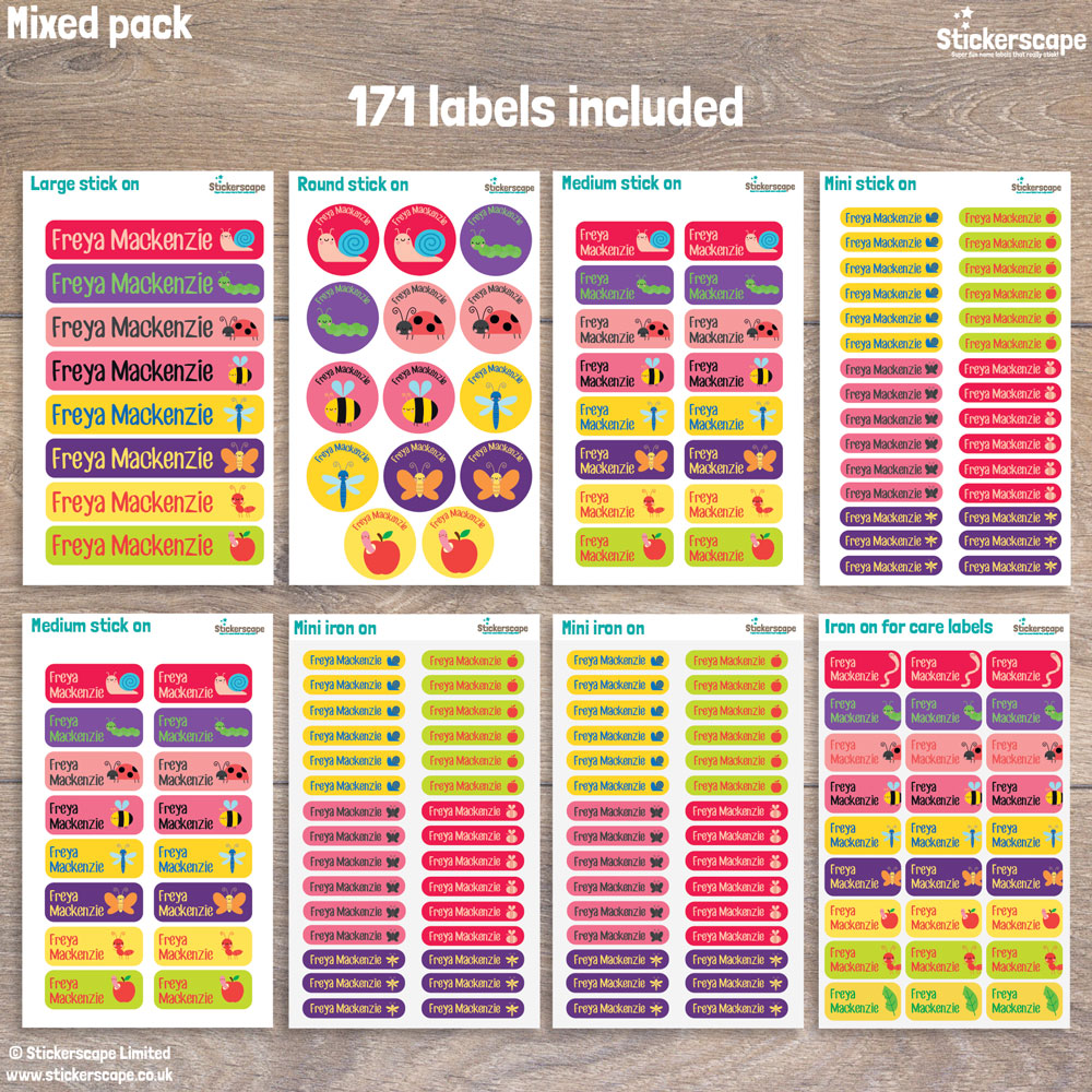 Insects name labels - mixed pack layout (option 4)
