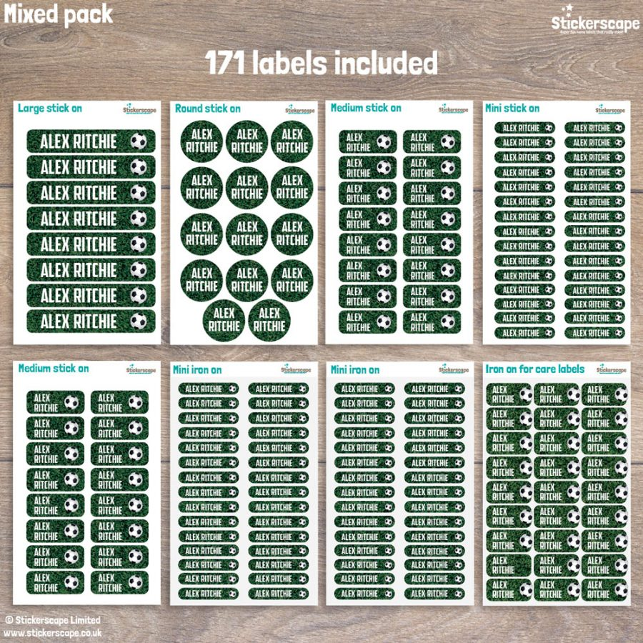 football name labels - mixed pack layout