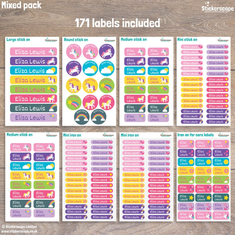 Unicorn name labels - mixed pack layout (option 2)