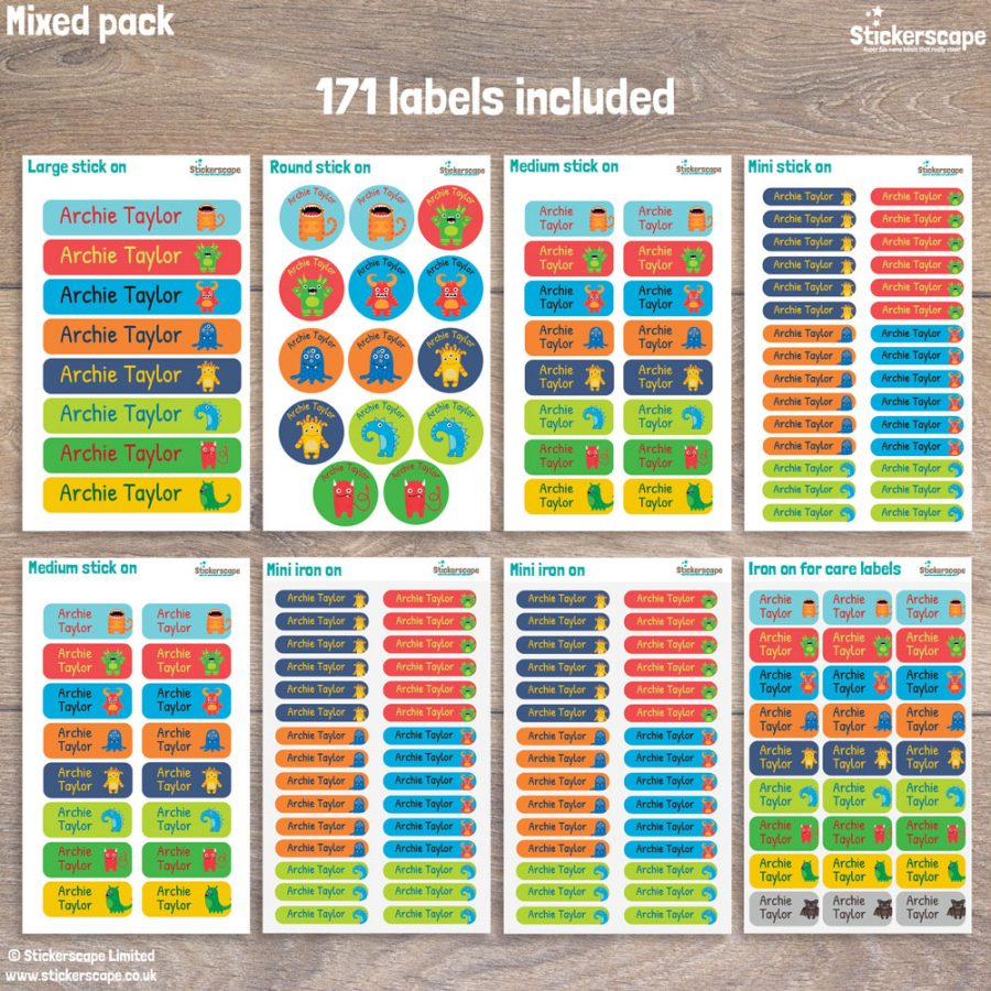 Monster name labels pack layout