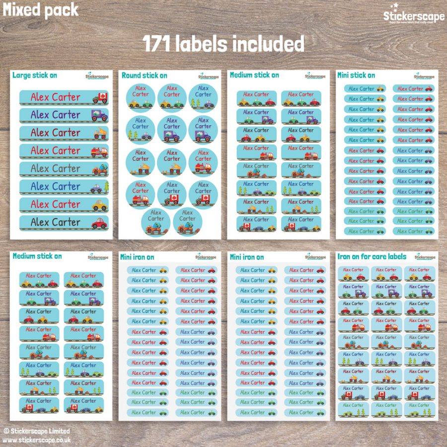 Transport name labels pack layout