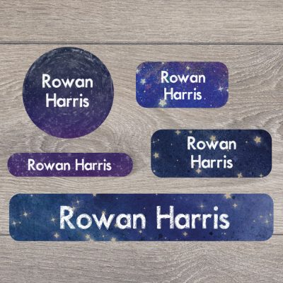 Night sky themed kids name labels with stick and iron on labels