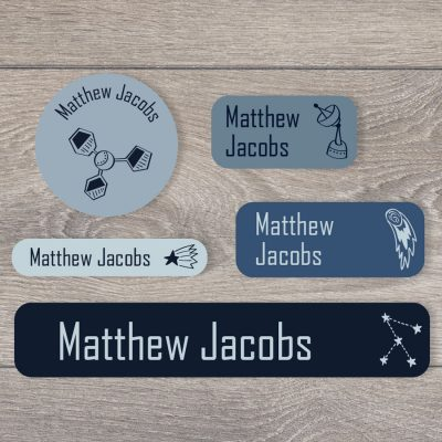 Space doodles big mixed name label pack for kids in blue colour option