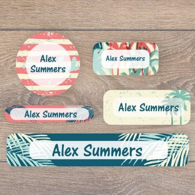 Tropical surf name labels perfect for labelling your childs lunchbox, bottles, clothes ready for nursery or school