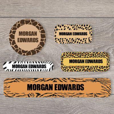 Safari big mixed name label pack for kids with animal prints