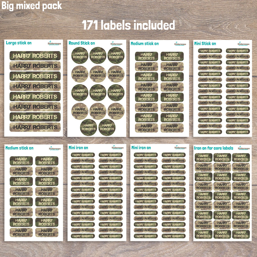 Camouflage big name label pack sheet layout