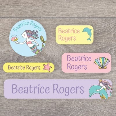 Mermaid name labels (Option 1) perfect for labelling your childs lunchbox, bottles, clothes ready for nursery or school