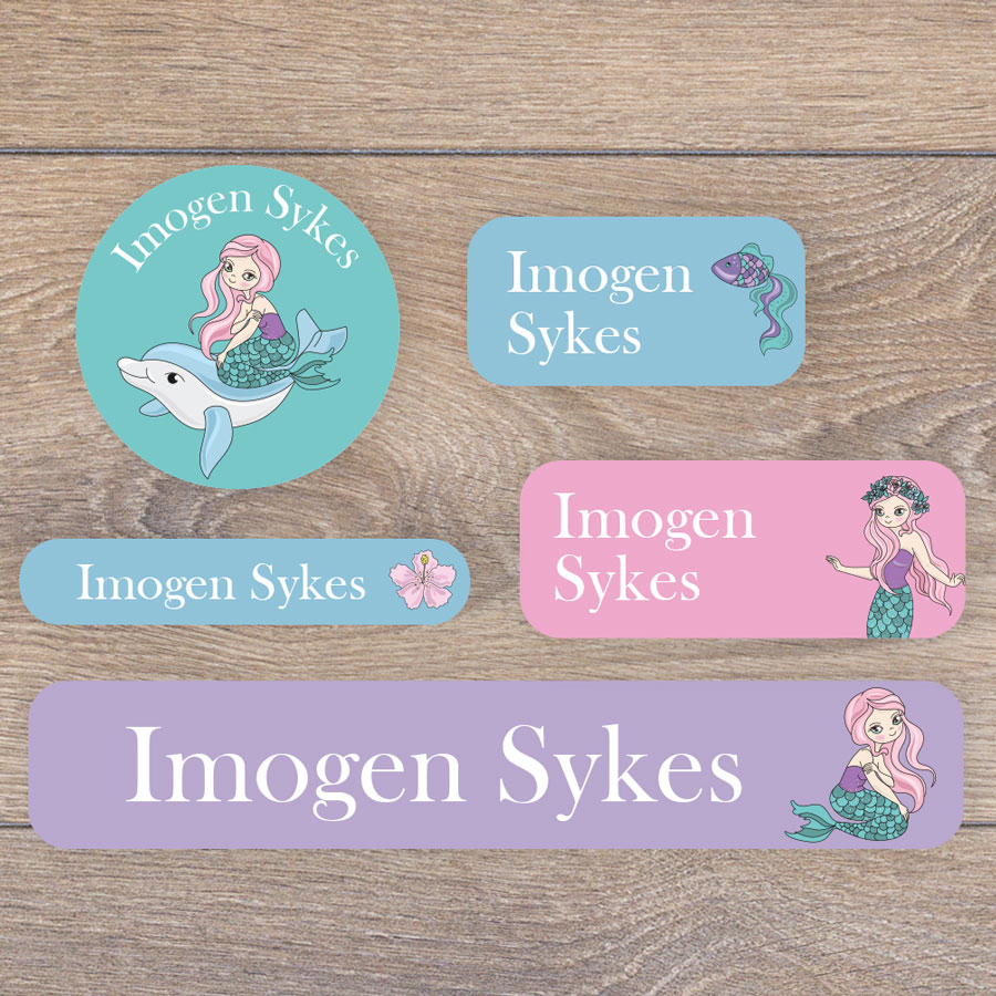 Mermaid name labels (Option 2) perfect for labelling your childs lunchbox, bottles, clothes ready for nursery or school
