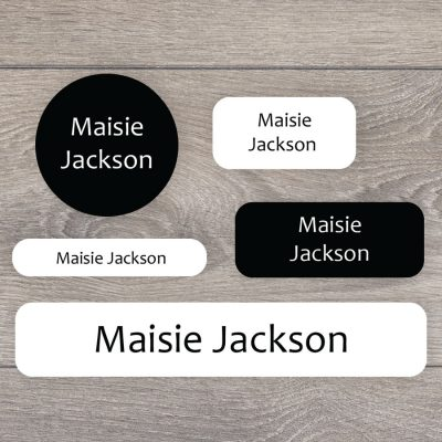 Essentials name labels (Black and white) perfect for labelling your childs lunchbox, bottles, clothes ready for nursery or school