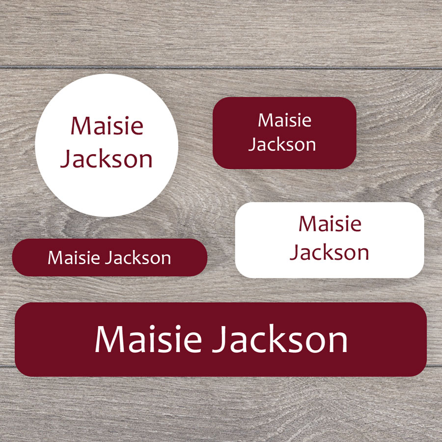 Essentials name labels (Burgundy) perfect for labelling your childs lunchbox, bottles, clothes ready for nursery or school